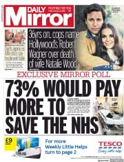 Daily Mirror (UK) Newspaper Front Page for 2 February 2018