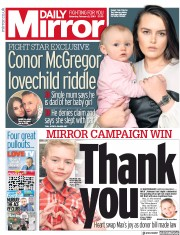 Daily Mirror (UK) Newspaper Front Page for 2 February 2019