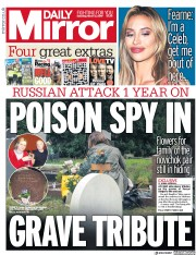 Daily Mirror () Newspaper Front Page for 2 March 2019