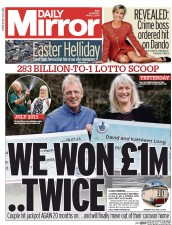 Daily Mirror (UK) Newspaper Front Page for 2 April 2015