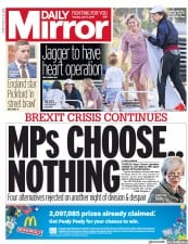 Daily Mirror (UK) Newspaper Front Page for 2 April 2019