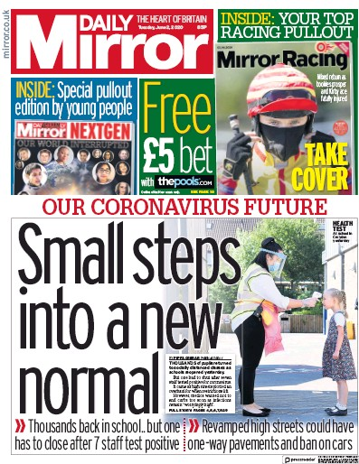 Daily Mirror Newspaper Front Page (UK) for 2 June 2020
