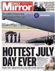 Daily Mirror (UK) Newspaper Front Page for 2 July 2015