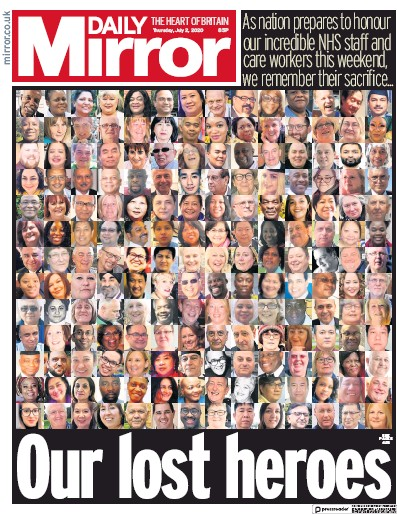 Daily Mirror Newspaper Front Page (UK) for 2 July 2020