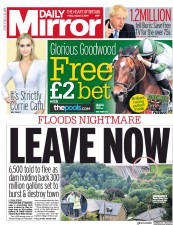 Daily Mirror (UK) Newspaper Front Page for 2 August 2019