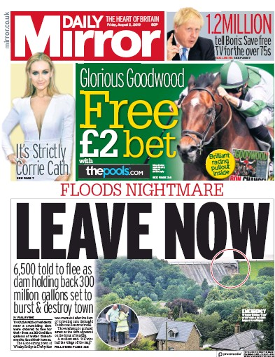 Daily Mirror Newspaper Front Page (UK) for 2 August 2019