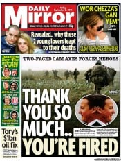 Daily Mirror (UK) Newspaper Front Page for 2 September 2011
