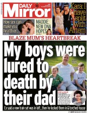 Daily Mirror (UK) Newspaper Front Page for 30 October 2014