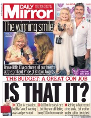 Daily Mirror (UK) Newspaper Front Page for 30 October 2018
