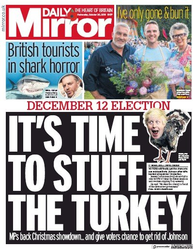 Daily Mirror Newspaper Front Page (UK) for 30 October 2019
