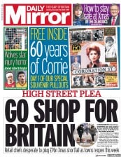 Daily Mirror front page for 30 November 2020