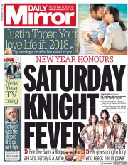 Daily Mirror (UK) Newspaper Front Page for 30 December 2017