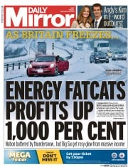 Daily Mirror (UK) Newspaper Front Page for 30 January 2015