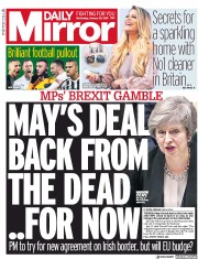 Daily Mirror () Newspaper Front Page for 30 January 2019