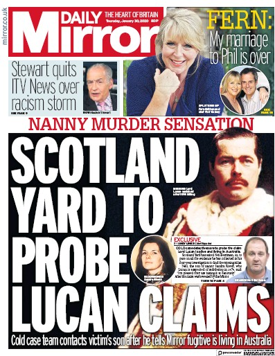 Daily Mirror Newspaper Front Page (UK) for 30 January 2020