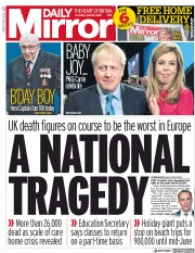 Daily Mirror (UK) Newspaper Front Page for 30 April 2020