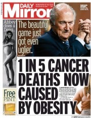 Daily Mirror (UK) Newspaper Front Page for 30 May 2015