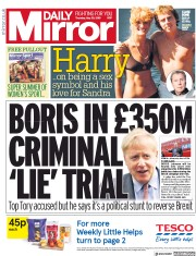 Daily Mirror (UK) Newspaper Front Page for 30 May 2019