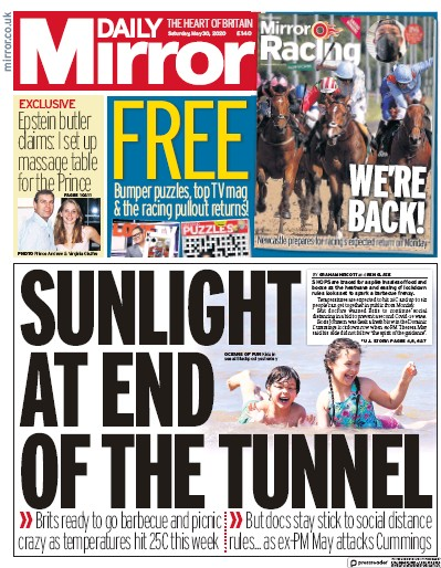 Daily Mirror Newspaper Front Page (UK) for 30 May 2020