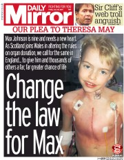 Daily Mirror (UK) Newspaper Front Page for 30 June 2017