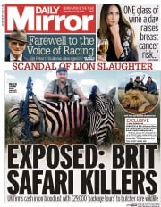 Daily Mirror (UK) Newspaper Front Page for 30 July 2015