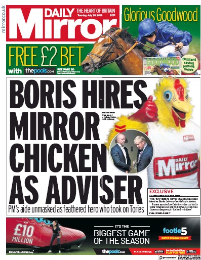 Daily Mirror Newspaper Front Page (UK) for 30 July 2019