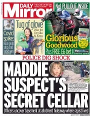 Daily Mirror front page for 30 July 2020