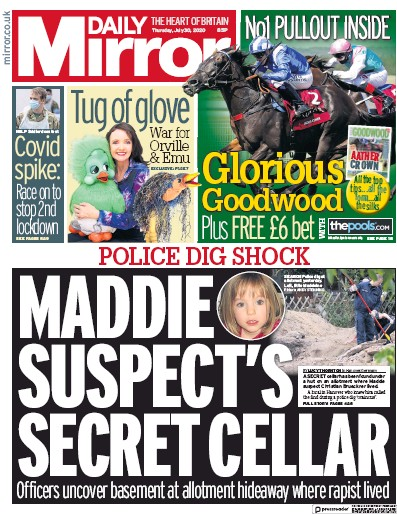 Daily Mirror Newspaper Front Page (UK) for 30 July 2020