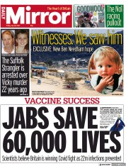 Daily Mirror () Newspaper Front Page for 30 July 2021
