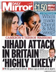 Daily Mirror (UK) Newspaper Front Page for 30 August 2014