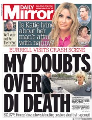 Daily Mirror (UK) Newspaper Front Page for 30 August 2017