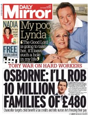 Daily Mirror (UK) Newspaper Front Page for 30 September 2014