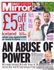 Daily Mirror (UK) Newspaper Front Page for 30 September 2019