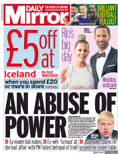 Daily Mirror Newspaper Front Page (UK) for 30 September 2019
