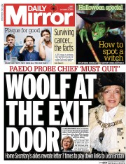 Daily Mirror (UK) Newspaper Front Page for 31 October 2014