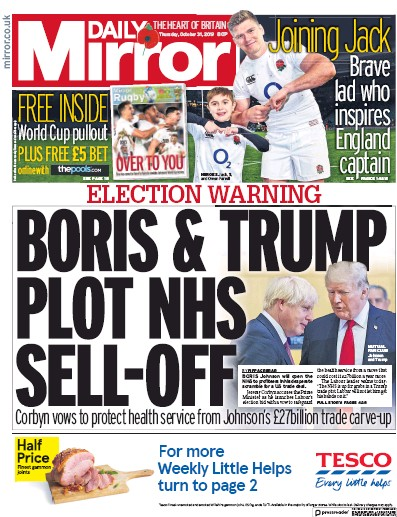 Daily Mirror Newspaper Front Page (UK) for 31 October 2019
