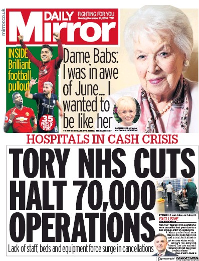 Daily Mirror Newspaper Front Page (UK) for 31 December 2018