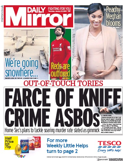 Daily Mirror Newspaper Front Page (UK) for 31 January 2019