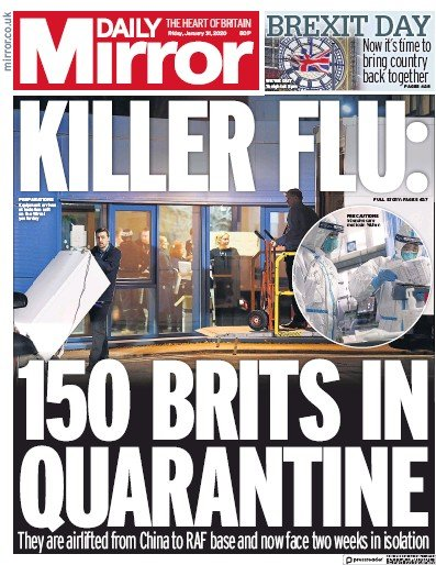 Daily Mirror Newspaper Front Page (UK) for 31 January 2020