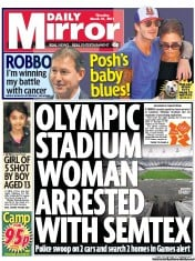 Daily Mirror () Newspaper Front Page for 31 March 2011