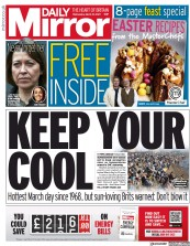 Daily Mirror (UK) Newspaper Front Page for 31 March 2021