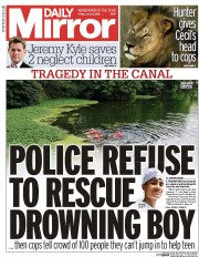 Daily Mirror (UK) Newspaper Front Page for 31 July 2015
