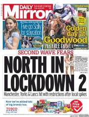 Daily Mirror front page for 31 July 2020