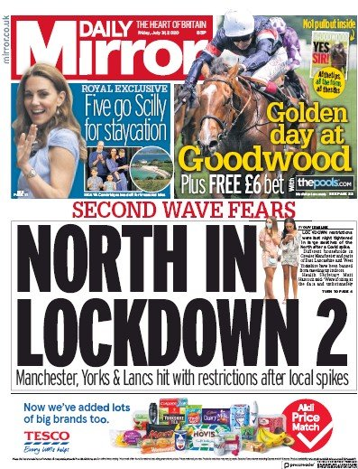 Daily Mirror Newspaper Front Page (UK) for 31 July 2020