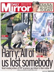 Daily Mirror (UK) Newspaper Front Page for 31 August 2017