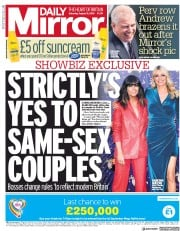 Daily Mirror () Newspaper Front Page for 31 August 2019