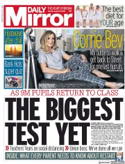 Daily Mirror (UK) Newspaper Front Page for 31 August 2020