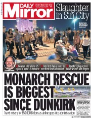 Daily Mirror (UK) Newspaper Front Page for 3 October 2017