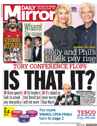 Daily Mirror Newspaper Front Page (UK) for 3 October 2019