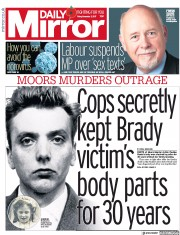 Daily Mirror () Newspaper Front Page for 3 November 2017